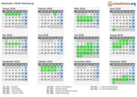 Kalender 2018 Hamburg Schulferien Kalender 2018 Ferien Hamburg Feiertage