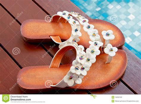 beautiful slippers beautiful slippers poolside stock photo image 19252100