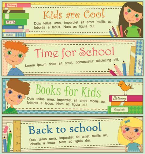 banner design of school set of school elements banners vector 04 vector banner