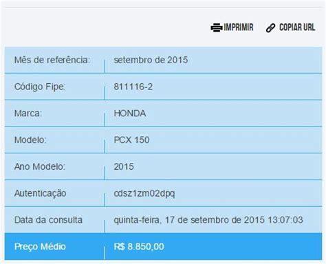 Pcx 2018 Tabela Fipe by Tabela Fipe 2016 Motos