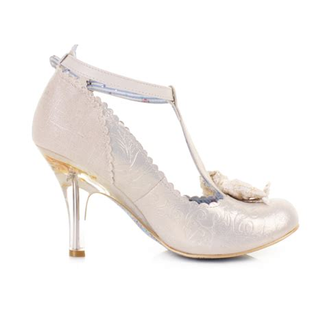 womens irregular choice floxy white gold wedding court