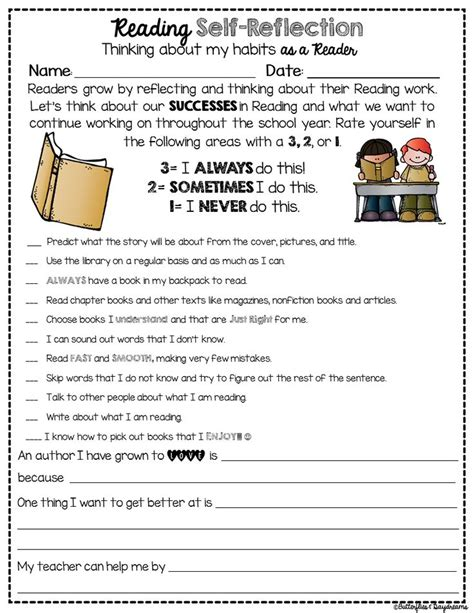 reading conference themes reading self reflection freebie tpt free lessons