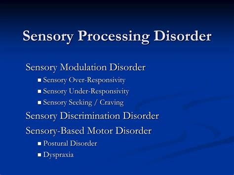 sensory based motor disorder ppt sensory processing disorder identification and
