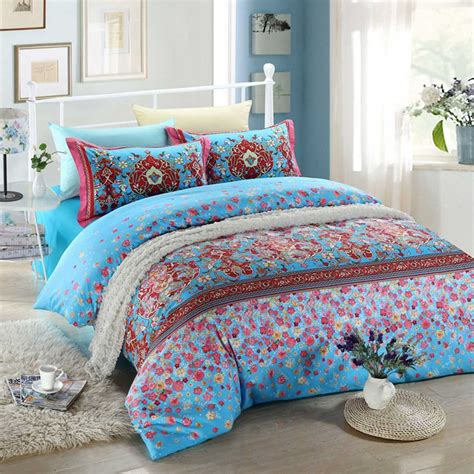 Floral Bed Set Blue And Pink Floral Bedding Set Ebeddingsets