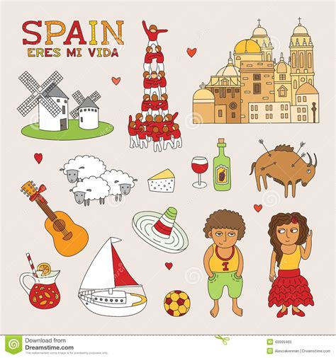 doodle espa ol vector spain doodle for travel and tourism stock