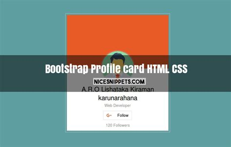 simple html css layout code profile card design using html css and bootstrap
