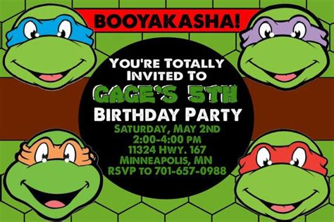 tmnt birthday card template birthday invites turtles birthday invitations free
