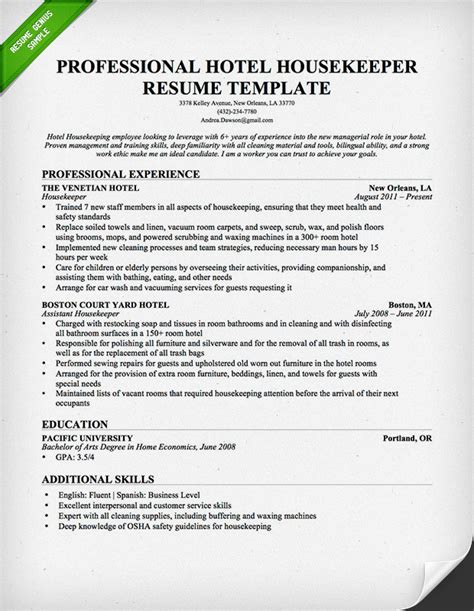How To Make A Resume For Hotel Job by Professional Housekeeper Maid Resume Template Free