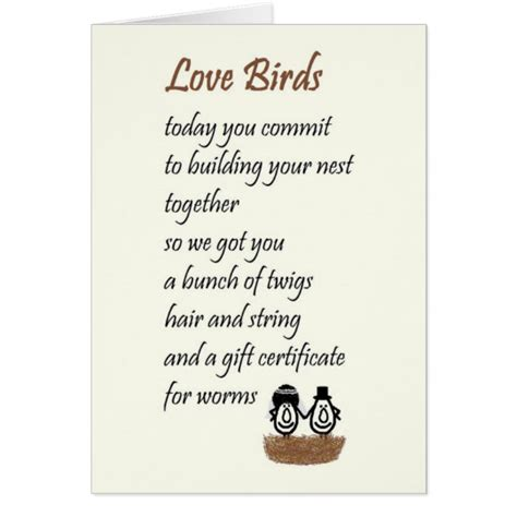 Wedding Blessing Humorous by Birds A Wedding Poem Card Zazzle