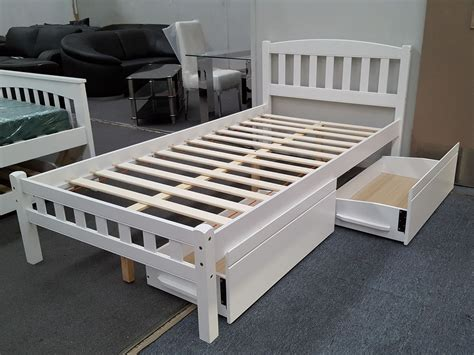 King Single Bed With Drawers by Furniture Place Zara King Single Bed In White With 2x Drawers