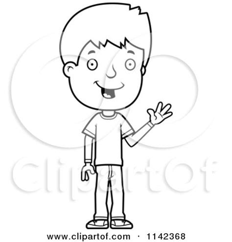 boy waving coloring page cartoon clipart of a black and white adolescent teenage