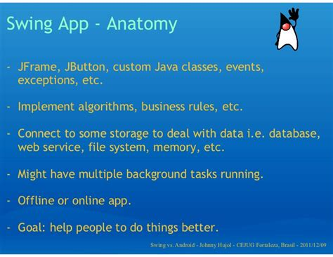 java swing vs java swing vs android app