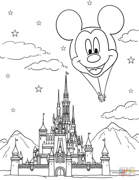Disney Castle and Mickey Mouse Hot Air Balloon coloring