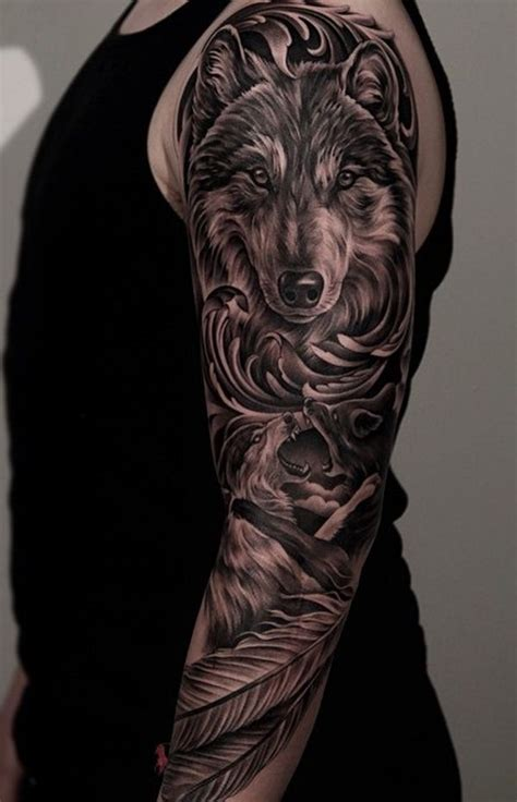 wolf sleeve tattoo designs best 25 wolf sleeve ideas on forest