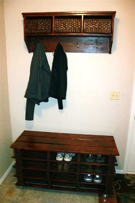 make furniture entarnce way storage for shoes coats jackets pallet entryway bench the owner builder network
