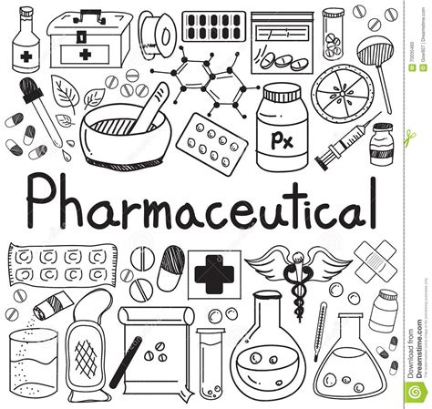 sign and doodle pharmacist tools clipart collection