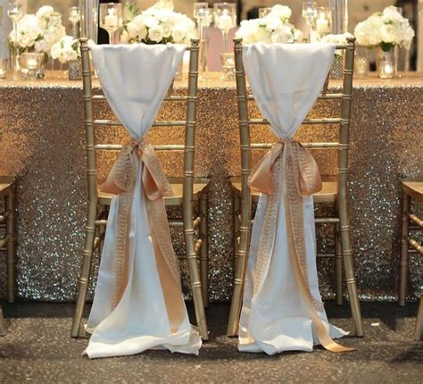 Dekorate hot sale white taffeta chair sashes with golden champagne