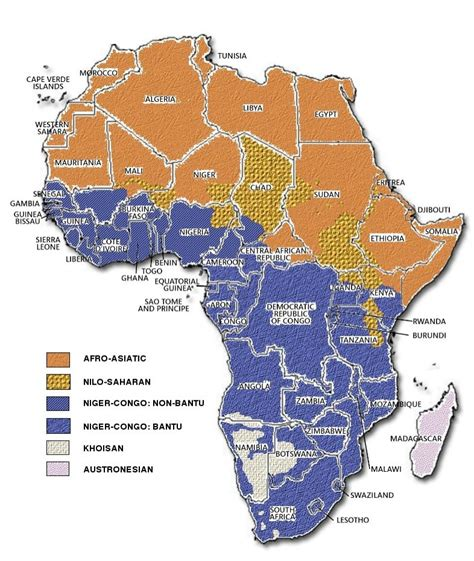 africa map of languages africa
