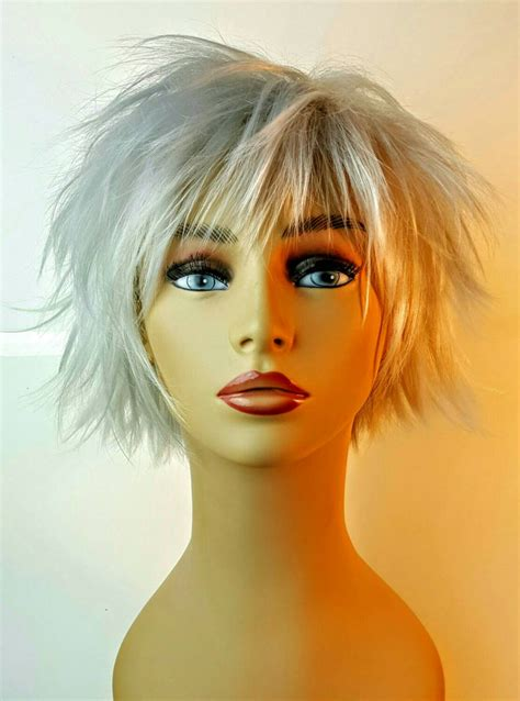 short layered spiky wigs for black women short spiky platinum bob wig silver choppy layered bob