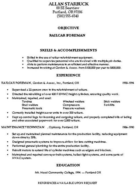 Resume Cover Letter Exles Trades Resume Sles Construction Trades And Labor Damn Resume Guide