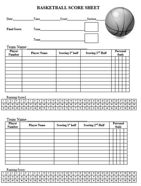 Nba Card Template Rating by 8 Free Sle Basketball Score Sheet Sles Printable