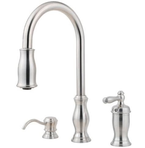 price pfister hanover kitchen faucet pfister gt526 tms hanover single handle pull kitchen faucet with soap dispenser stainless