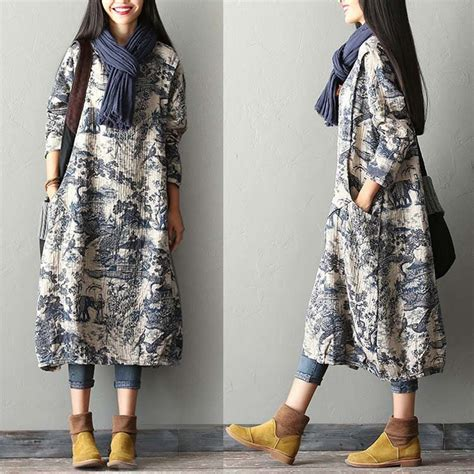 Jaket Wanita Winter Colum Printed Terbaru new print cotton linen dress robe free size fit for s m