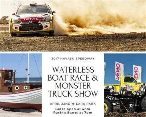 monster truck race track 2017 havasu speedway waterless boat race