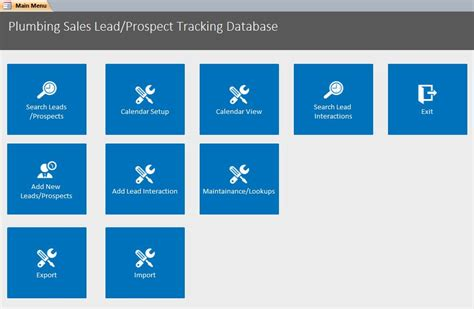 sales database template microsoft access plumbing sales lead prospect tracking