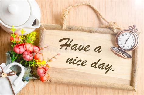 nice day text  blank wooden photo frame stock