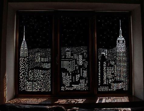 Blackout Shades For Windows Decorating Blackout Window Shades With Iconic City Skyline Cutouts That Appear With The Light