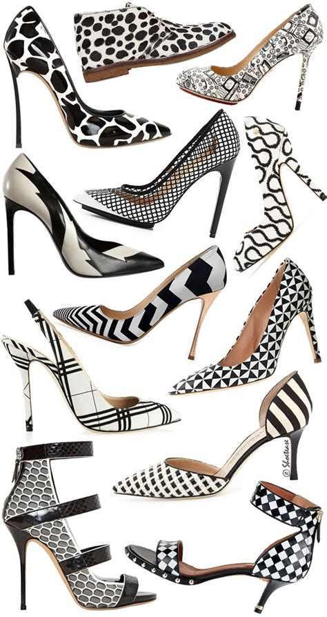 black and white patterned heels black white patterned high heel shoes trend spring 2014