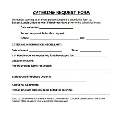 6 Catering Proposal Sles Sle Templates Catering Order Form Template Word