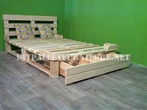 Pallet Bed Frame For Sale Bed Frame With Drawers Made Of Pallets 3diy Pallet Furniture Diy Pallet Furniture