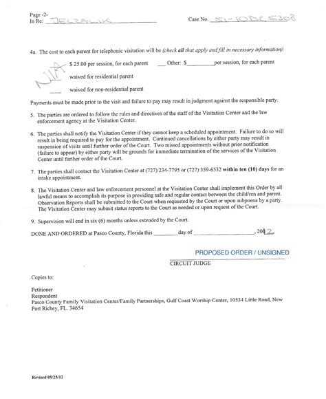Visitation Agreement Letter Visitation Agreement Letter Free Printable Documents