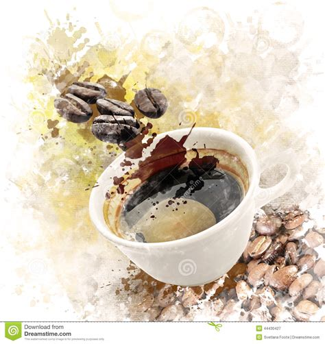 Watercolor Image Of Morning Coffee Stock Illustration   Image: 44430427
