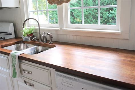 make my kitchen make your own stained finished wood countertops from ikea butcherblock diy