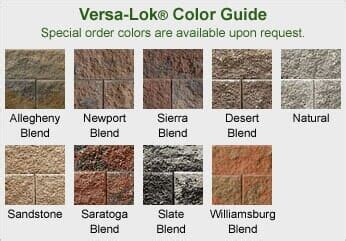 versa lok colors retaining walls pittsburgh pa lesney concrete