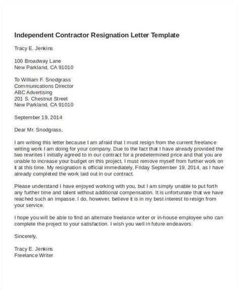 Contract Resignation Letter contractor resignation letter template 4 free word pdf