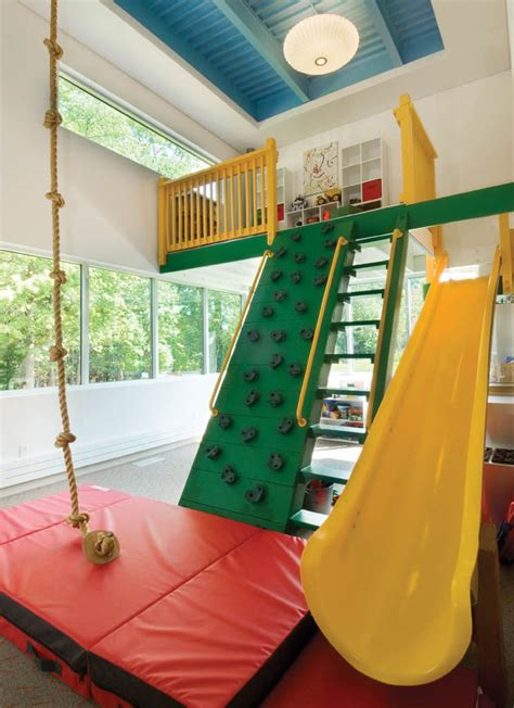 playroom swing at the end of a hall in this home is a 14x22 foot