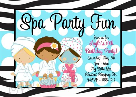 Printable Spa Party Invitations Home Party Ideas Free Printable Spa Invitations Templates