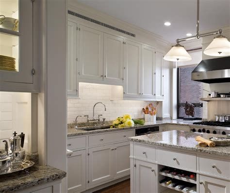 White Kitchen Cabinets Gray Granite Countertops by Built In Wine Rack Design Ideas