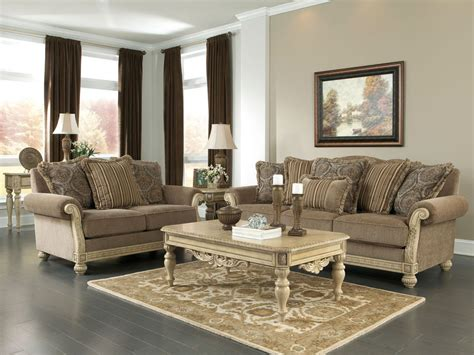 Living Room Furniture With Wood Trim Romano Traditional Wood Trim Brown Fabric Sofa Set