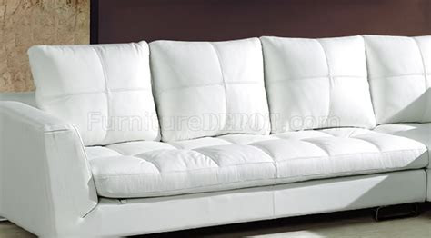curved modern sectional ivory full thick leather modern sectional sofa w curved legs
