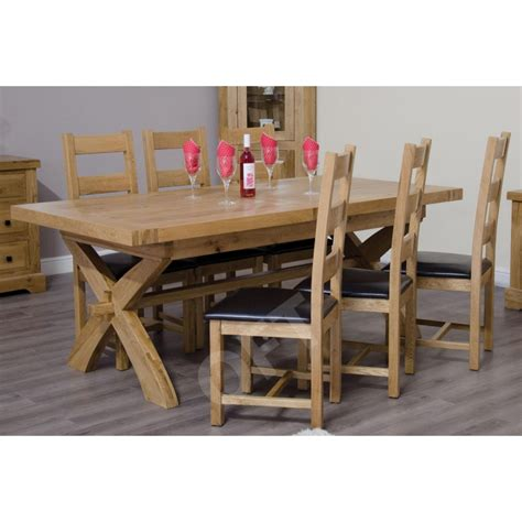 Montero Solid Oak Furniture Cross Leg Extending Dining Solid Oak Extending Dining Table And 6 Chairs