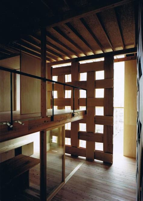 wooden partition wall wood block house tadashi yoshimura architects