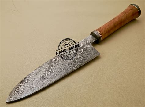 custom handmade damascus steel chef kitchen knife with damascus chef knife custom handmade damascus steel kitchen