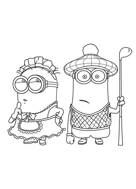 minion carl coloring page the mark maid and golfer phil minion coloring page