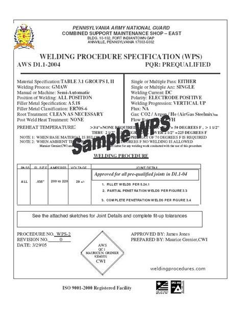 aws section 9 pin aws welding procedure specification template image