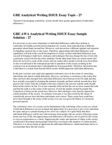 gre issue sle essays awa essay template 28 images gre awa argument essay